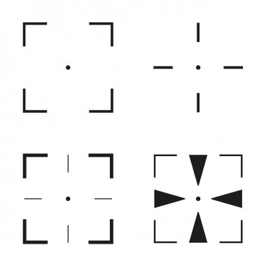 Collection of 4 isolated square crosshairs