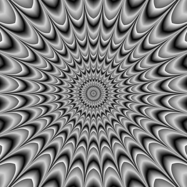 Hypnotic black and white abstract rotating motion illustration