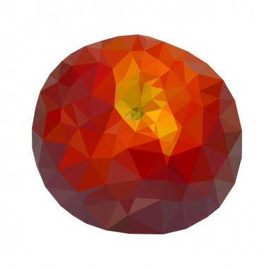 Low polygonal red peach isolated