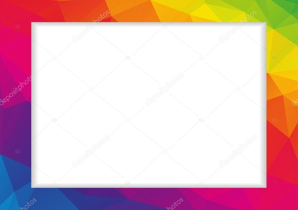 Resumen marco poligonal bajo en colores del arco iris — Archivo ...