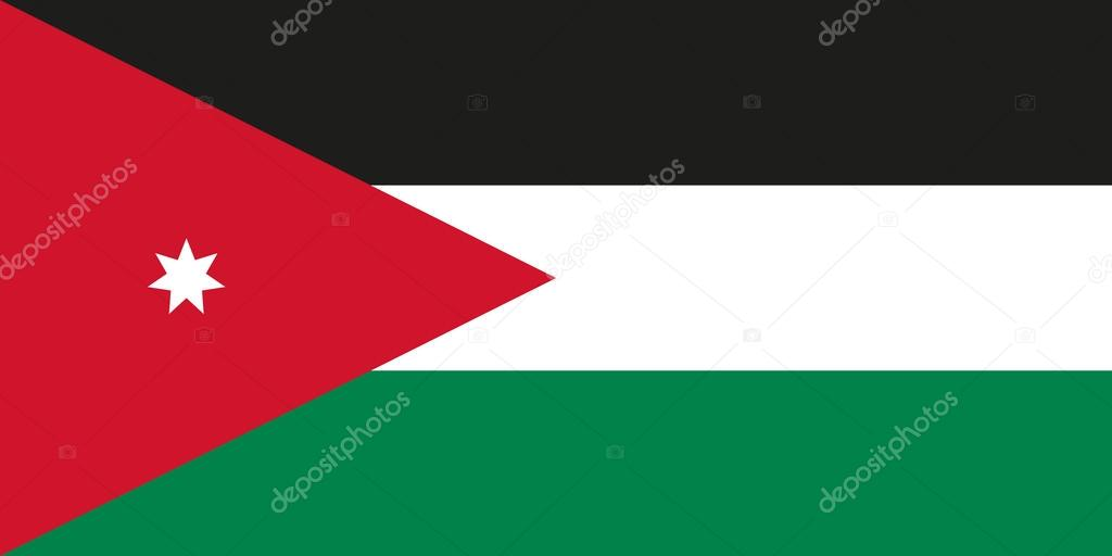 national flag of jordan offical colors and proportions stock