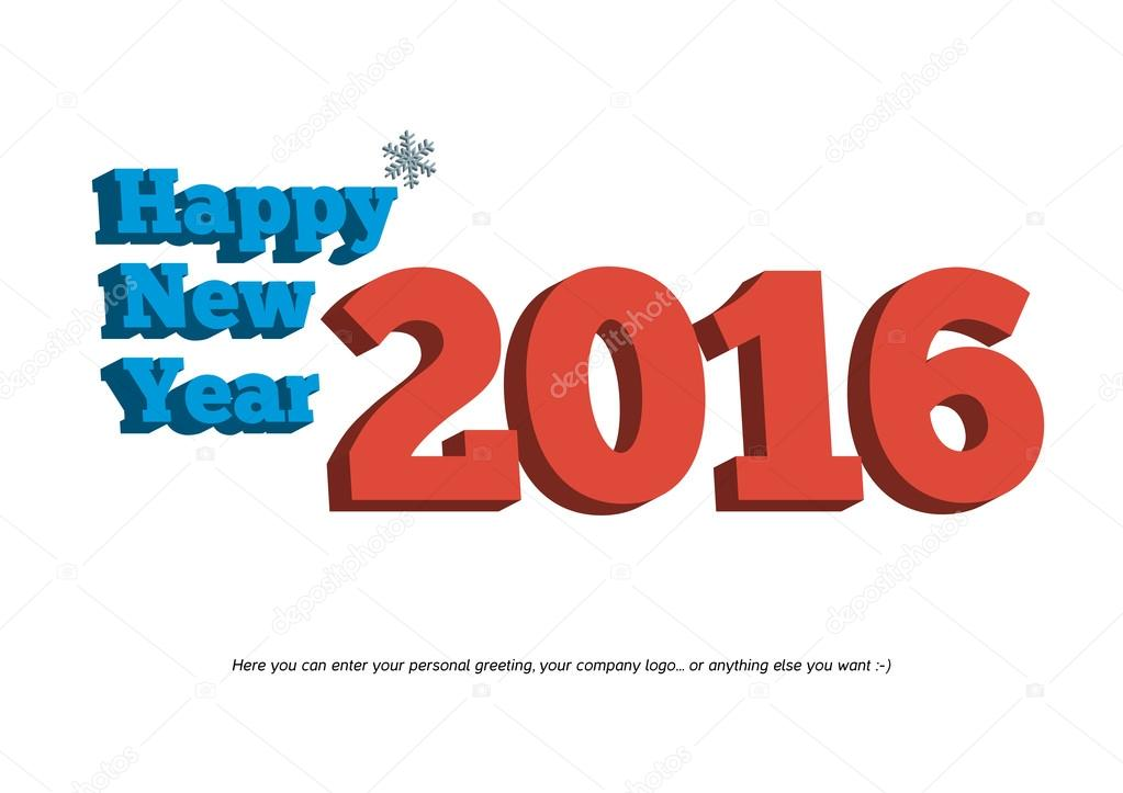 Texto de feliz año nuevo 2016 3d aislado con pequeño copo de nieve ...