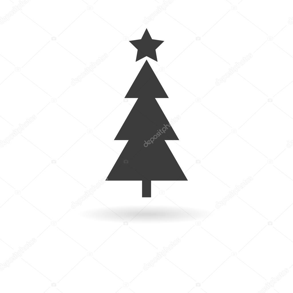 Grey Christmas Tree Dark Grey Icon For Christmas Tree On White Background With Shado