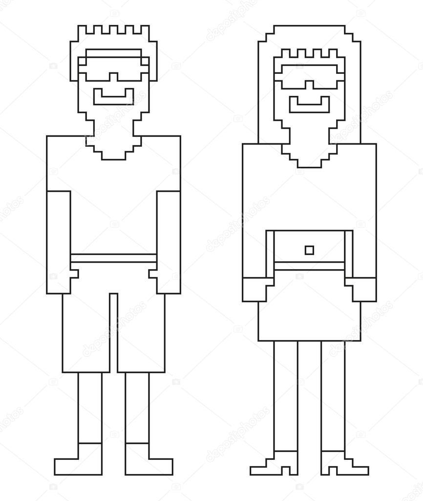 2 Esseri Umani Isolato 8 Bit (pixel