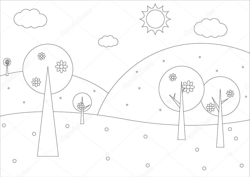 Libro para colorear - paisaje geométrico Simple resorte — Vector de ...