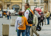 Happy Holland couple visiting Old Prague