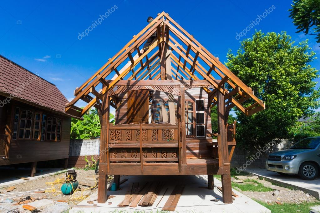 Building Thai Style Teak Wood House Stock Photo C Benedixs