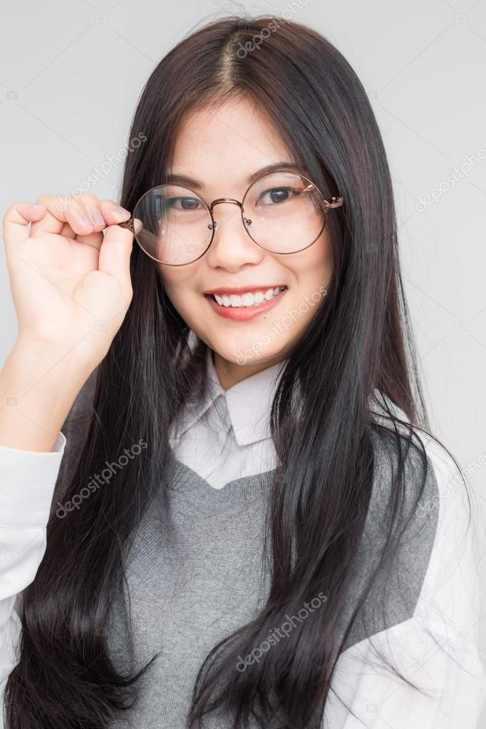 Portrait Young Asian Nerd Business Woman With Hipster