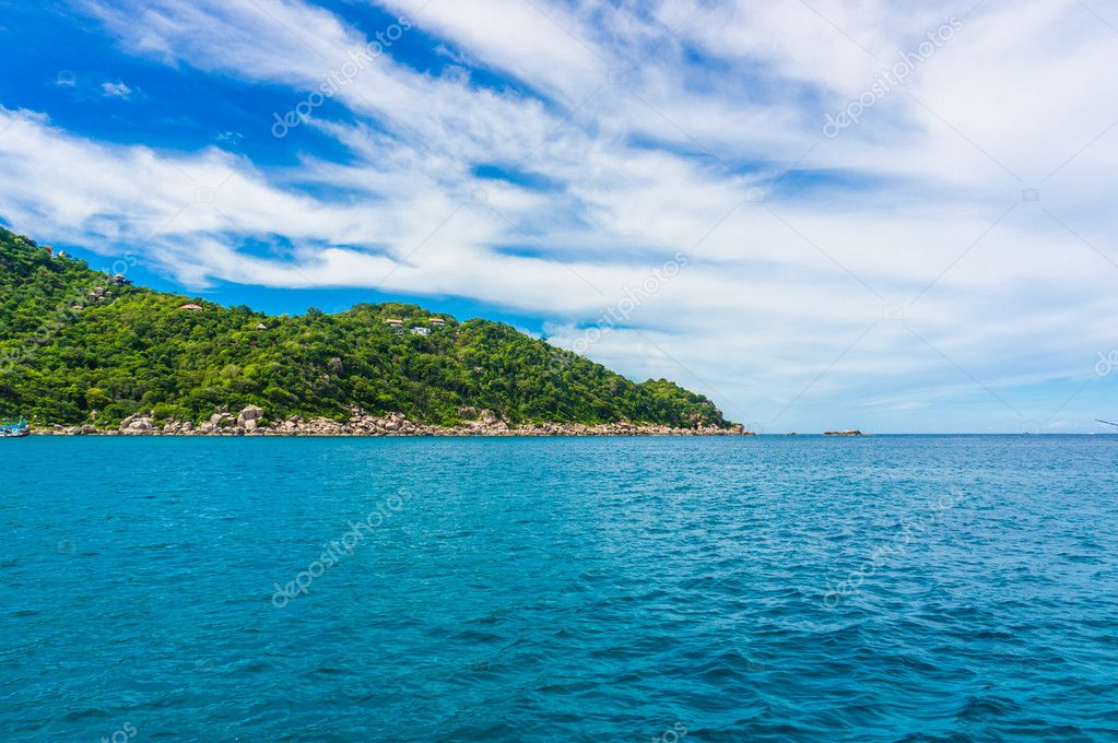 Sea with rock mountain blues sky background Koh tao island, Thailand