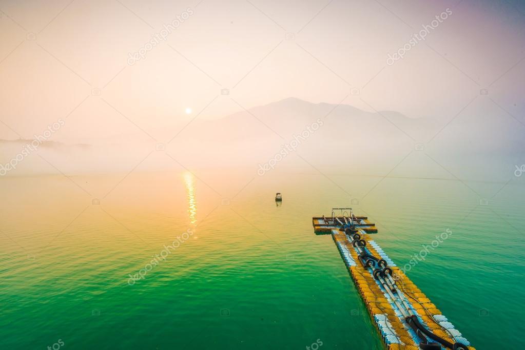 Sun Moon Lake at morning with fog