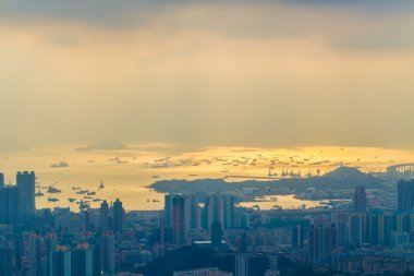 Office building sunset time, Sha Tin district in Hong Kong