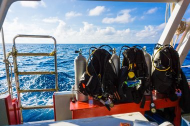 Set of diving equipment on the boat
