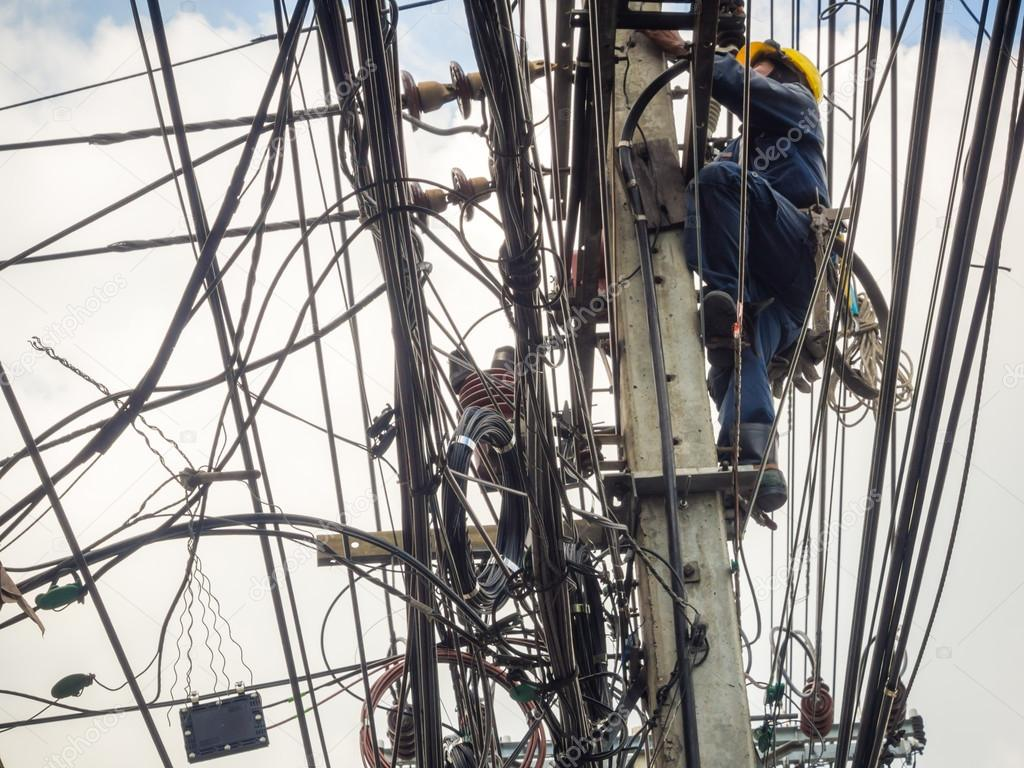 Worker at an electric substation