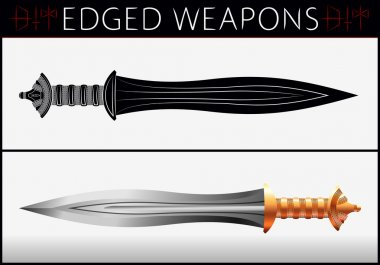 Sword. Gladius. Medieval Weapons. Collection of Vector Edged Wea