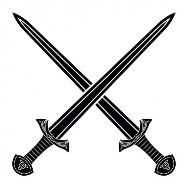 Two Crossed Gladius Sword Silhouette on White Background. Mediev