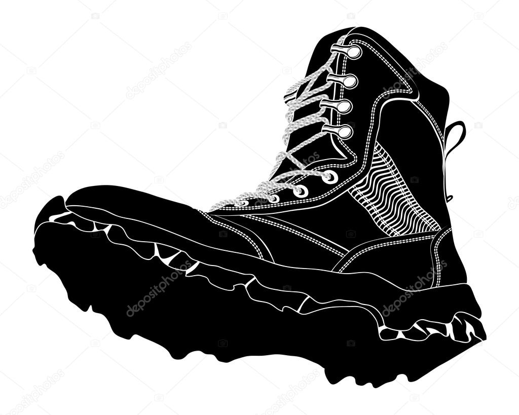Black Silhouette Army Boot. Military Shoes U2014 Stock Vector ...