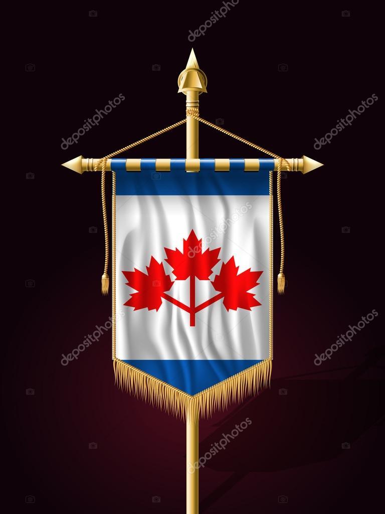 150ff1d58 Proporzec kanadyjski Pearson. Transparent uroczysty pionową flagę z  masztem. Na ścianach z frędzle frędzel złota — Wektor od Simeon.