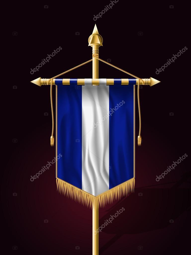 a7409a0cd Flaga Salwadoru. Transparent uroczysty pionową flagę z masztem. Na ścianach  z frędzle frędzel złota — Wektor od Simeon.