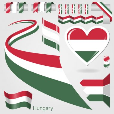 Set of Vector Flag of Hungary