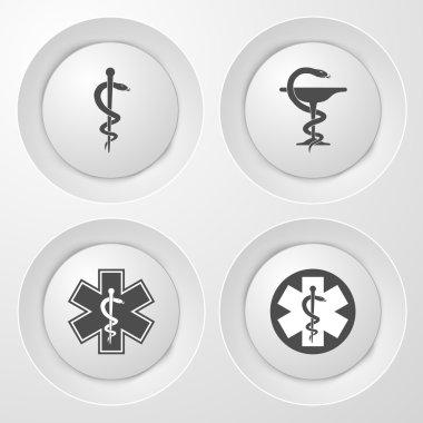 Medical Icon. Emergency Symbol. White Set