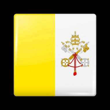 Flag of Vatican City. Glossy Icons