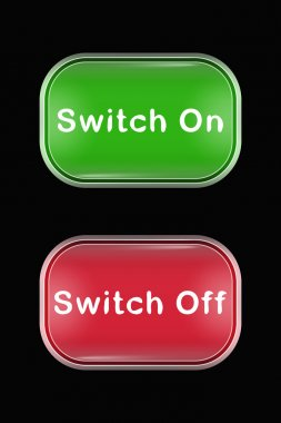 Modern Glass Buttons On Off