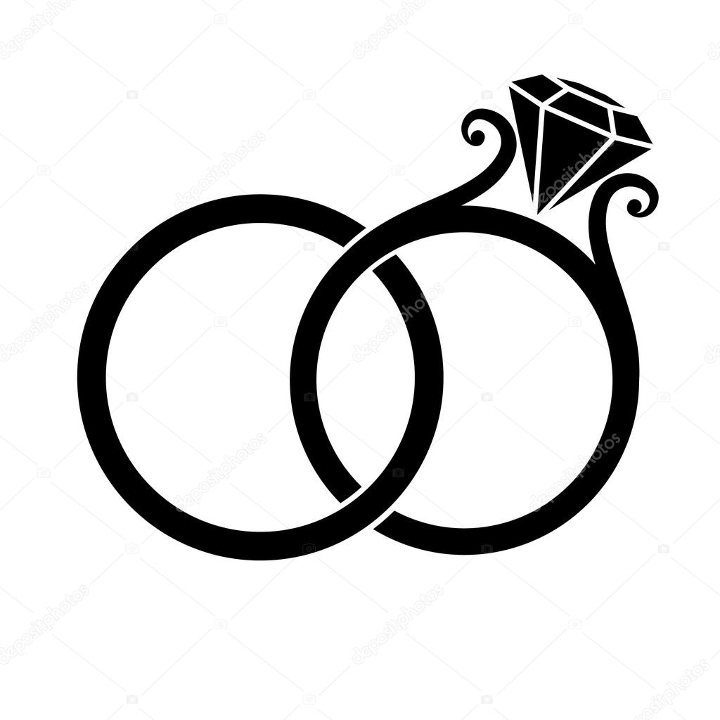 Wedding Rings With Diamond Black Silhouette On A White Background Vector By Simeon: And Wedding White Rings Black Sulowett At Reisefeber.org