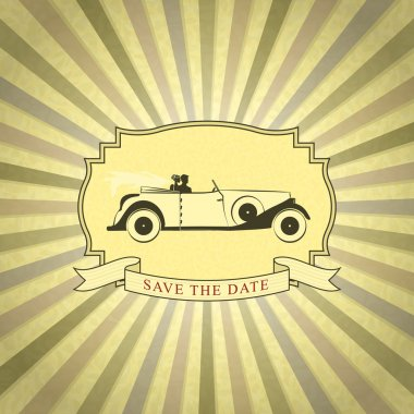 Retro Wedding Invitation with Bride and Groom Driving Vintage Ca