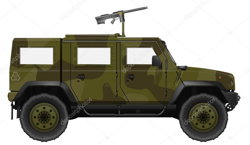 ve culo militar com metralhadora vetor de stock simeon vd 86125236. Black Bedroom Furniture Sets. Home Design Ideas