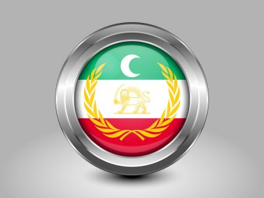 Flag of Azerbaijan.  Metal Round Icon