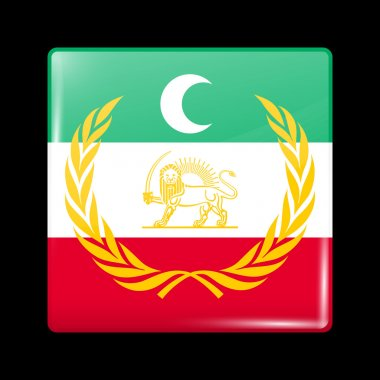 Flag of Azerbaijan. Glassy Icon Square Shape