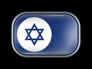 Israel Variant Flag. Rectangular Shape with Rounded Corners