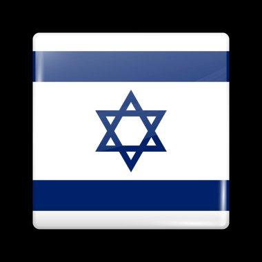 Flag of Israel. Glassy Icon Square Shape