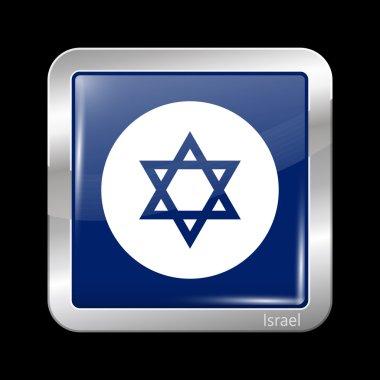 Israel Variant Flag. Metallic Icon Square Shape