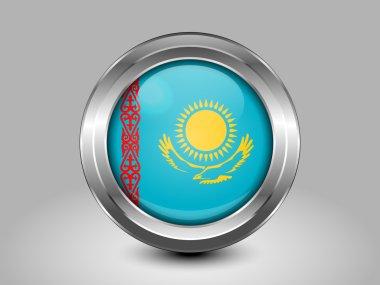 Kazakhstan Variant Flag. Metal Round Icon