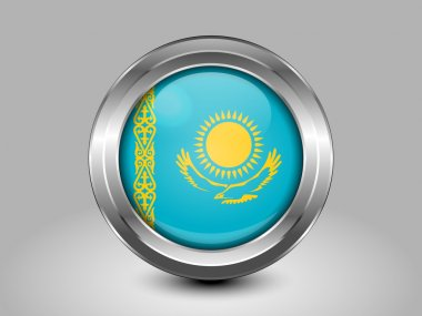 Flag of Kazakhstan. Metal Round Icon