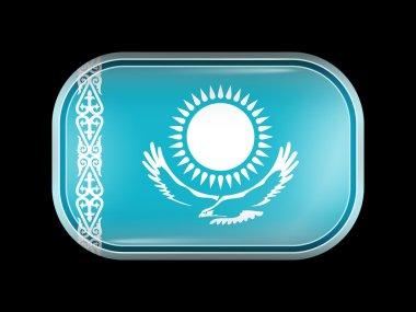 Flag of Kazakhstan. Rectangular Shape with Rounded Corners