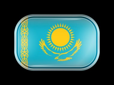 Flag of Kazakhstan. Rectangular Shape with Rounded Corners