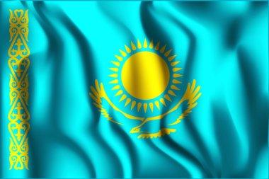 Flag of Kazakhstan. Rectangular Shape Icon