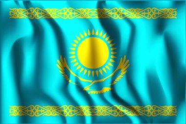 Kazakhstan Variant Flag. Rectangular Shape Icon