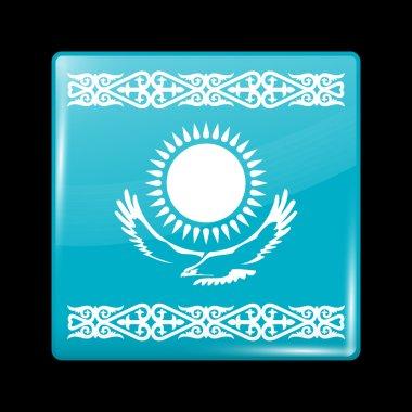 Kazakhstan Variant Flag. Glassy Icon Square Shape