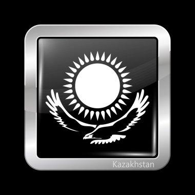 Kazakhstan Variant Flag. Metallic Icon Square Shape
