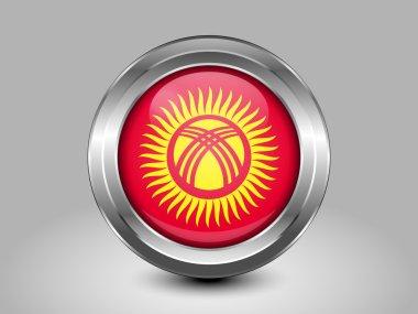 Flag of Kyrgyzstan. Metal Round Icon