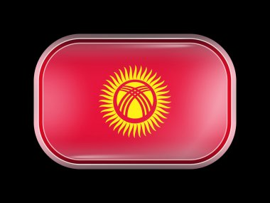 Flag of Kyrgyzstan. Rectangular Shape with Rounded Corners