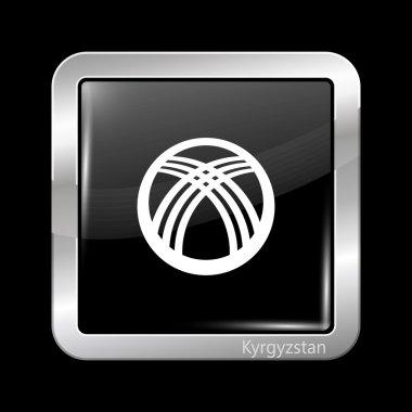 Kyrgyzstan Black and White Version Flag. Metallic Icon Square Sh
