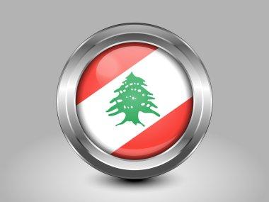 Flag of Lebanon. Metal Round Icon