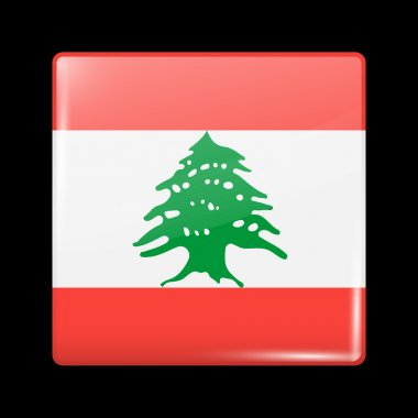 Flag of Lebanon. Glassy Icon Square Shape. This is File from the