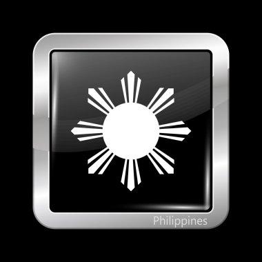 Philippines Variant Flag. Metallic Icon Square Shape