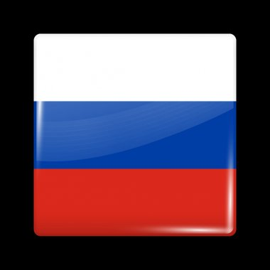Flag of Russia. Glassy Icon Square Shape