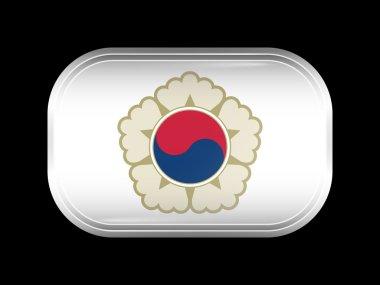 South Korea Variant Flag. Rectangular Shape with Rounded Corners